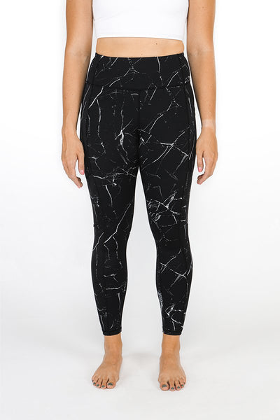 "Black Marble Legging 26"" - Luxe Fabric"