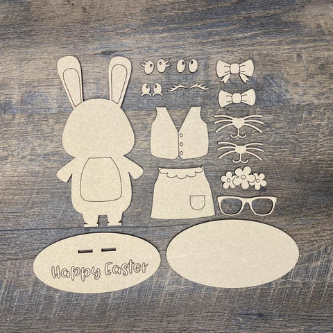 DIY Easter Bunny with custom faces and clothes