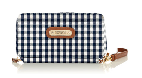 3effa229612c Continental Wristlet Wallet - Navy White Gingham