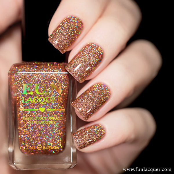 Champagne Rose Rosy Beige Holographic Glitter Nail Polish 4