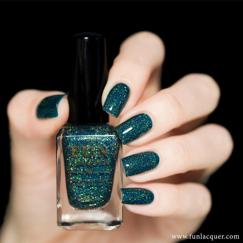 Glitzy Glam Green Holographic Nail Polish