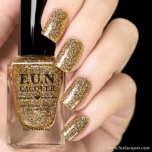 Million Dollar Dream 100% real gold holo glitter nail polish