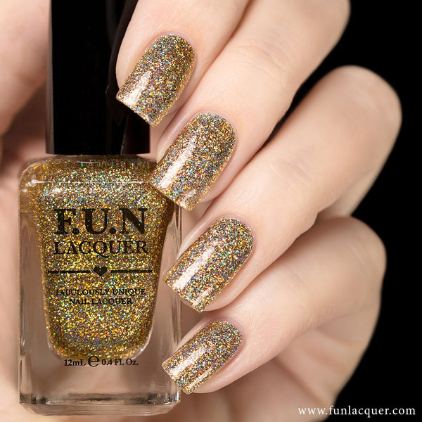 Million Dollar Dream (H) 100% real gold holo glitter nail polish