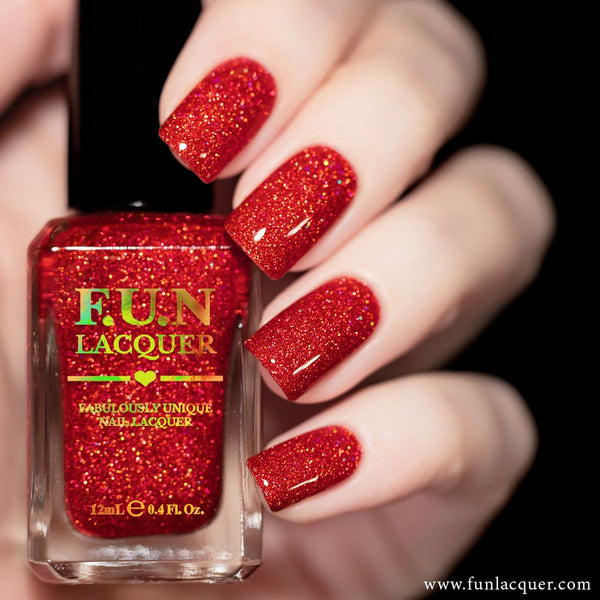 Romance Red Orange Holographic Glitter Nail Polish