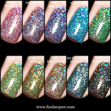 F.U.N Lacquer 6th Anniversary Collection Holo Glitter Nails