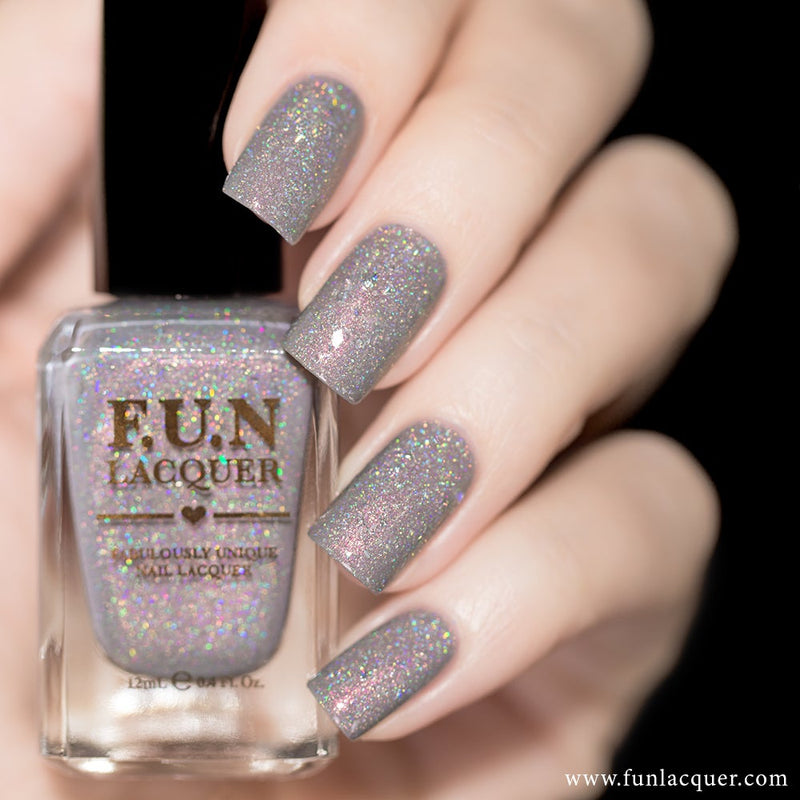 Bachelorette Party Grey Holographic Nail Polish