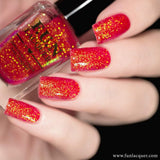 Jingle Bells Red Orange Color Shifting Glitter Nail Polish