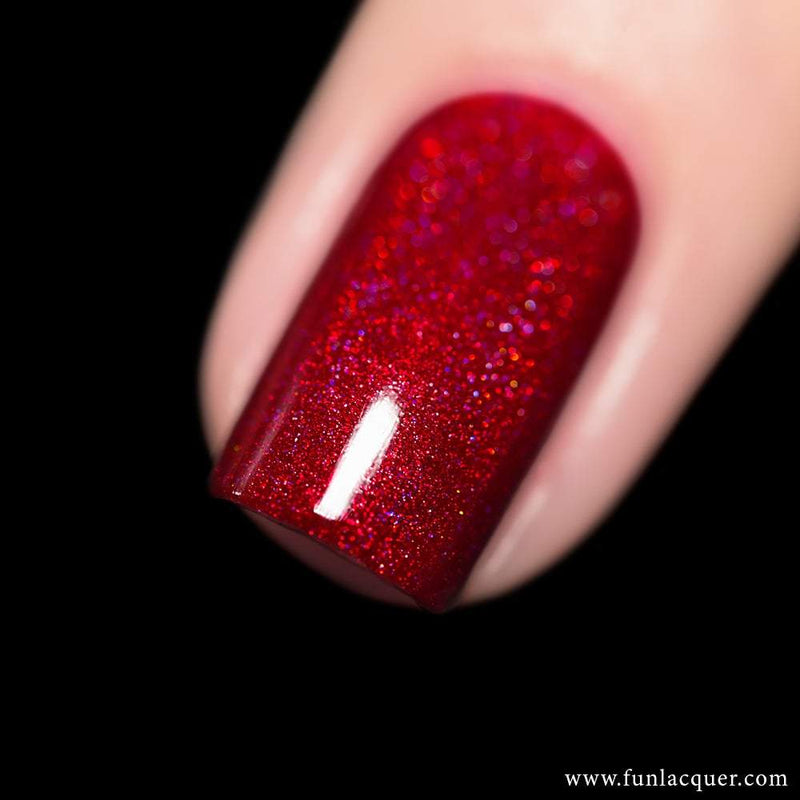 Powerful Red Linear Holographic Nail Polish