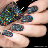 Snow in the Rainbow Night Black Holo Glitter Nail Polish
