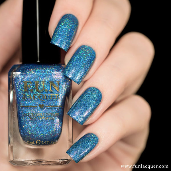 Let The Sea Set You Free Blue Holographic Nail Polish