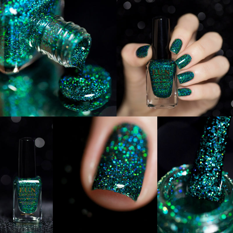 Secret Green Holographic Glitter Polish