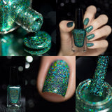 F.U.N Lacquer 1st Anniversary Collection Green Glitter Polish