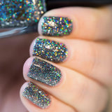 Snow in the Rainbow Night Black Holographic Glitter Nail Polish