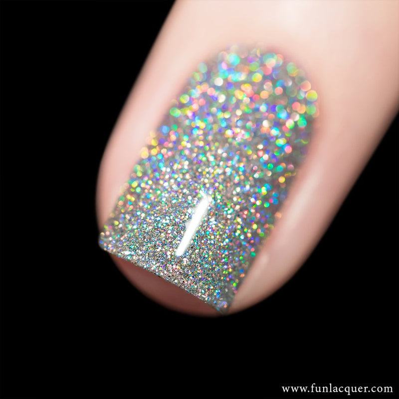 30 Carat Diamond Silver Holo Glitter Nails