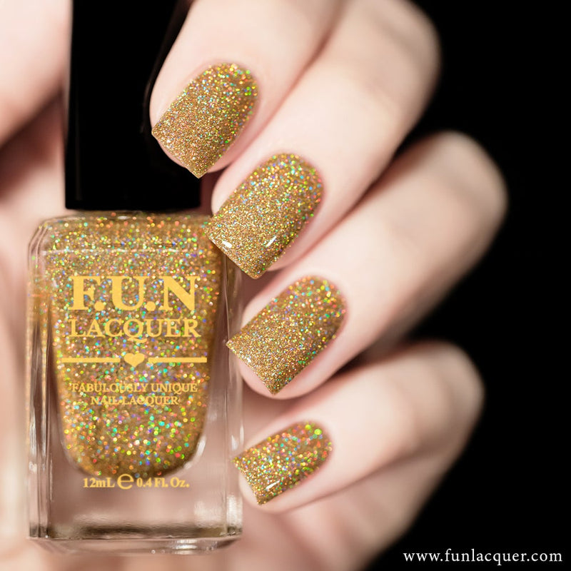 Billion Dollar Dream Gold Holographic Glitter Nail Polish