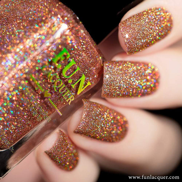 Champagne Rose Rosy Beige Holo Glitter Nail Polish