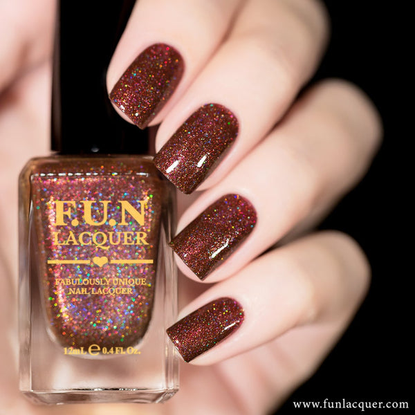 Chestnut Brown Holographic Nail Polish