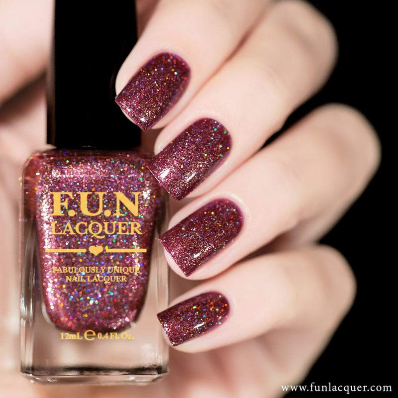 Diva Wine Red Metallic Holographic Nail Polish