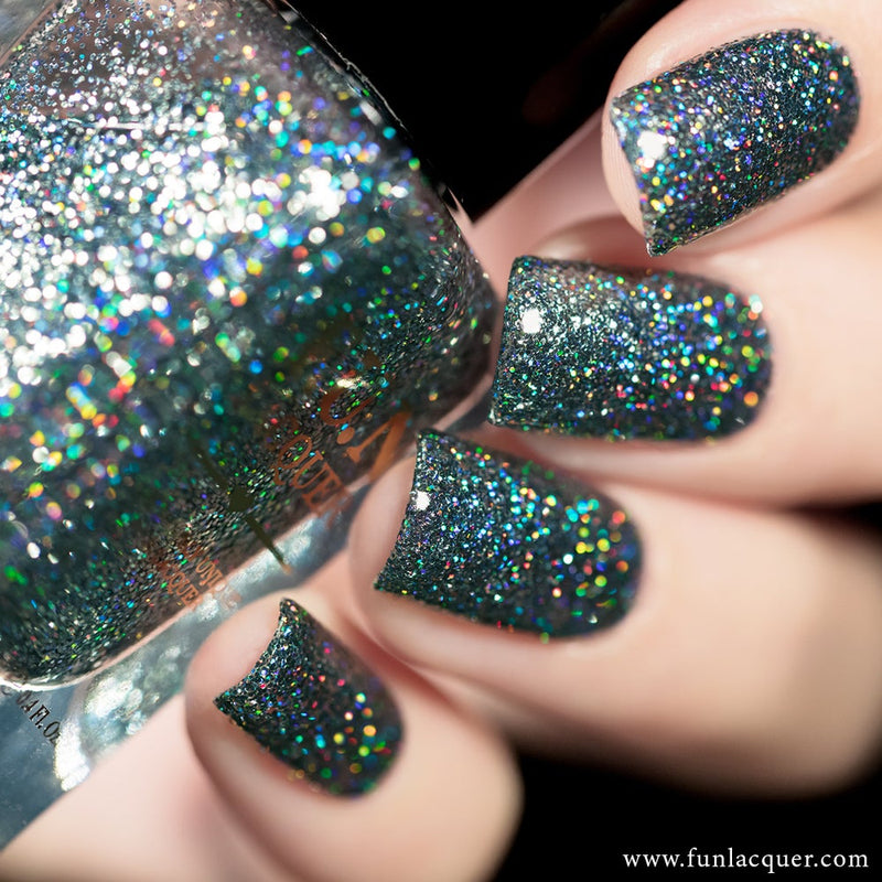 Do You Steel Love Me? Grey Holo Glitter Nail