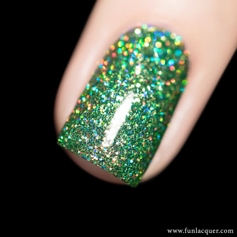 Drama Green Holographic Glitter Nail