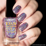 Dynamite Pink Violet Holographic Glitter Nail Polish