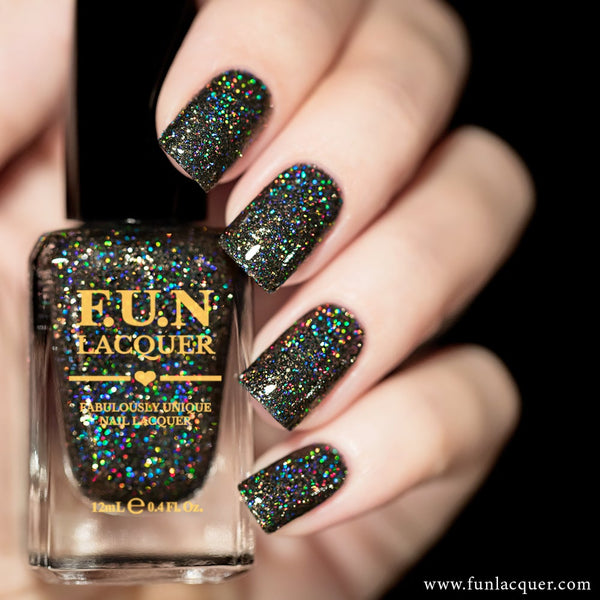 Extraordinary Black Holographic Glitter Nail Polish