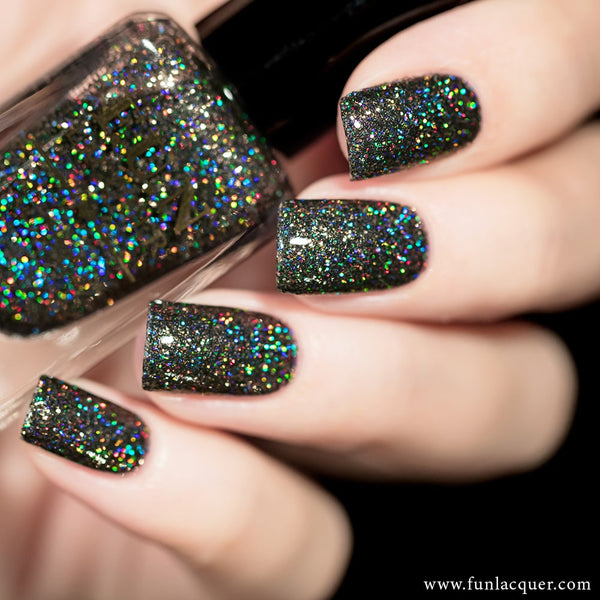 Extraordinary Black Holo Glitter Nail Polish