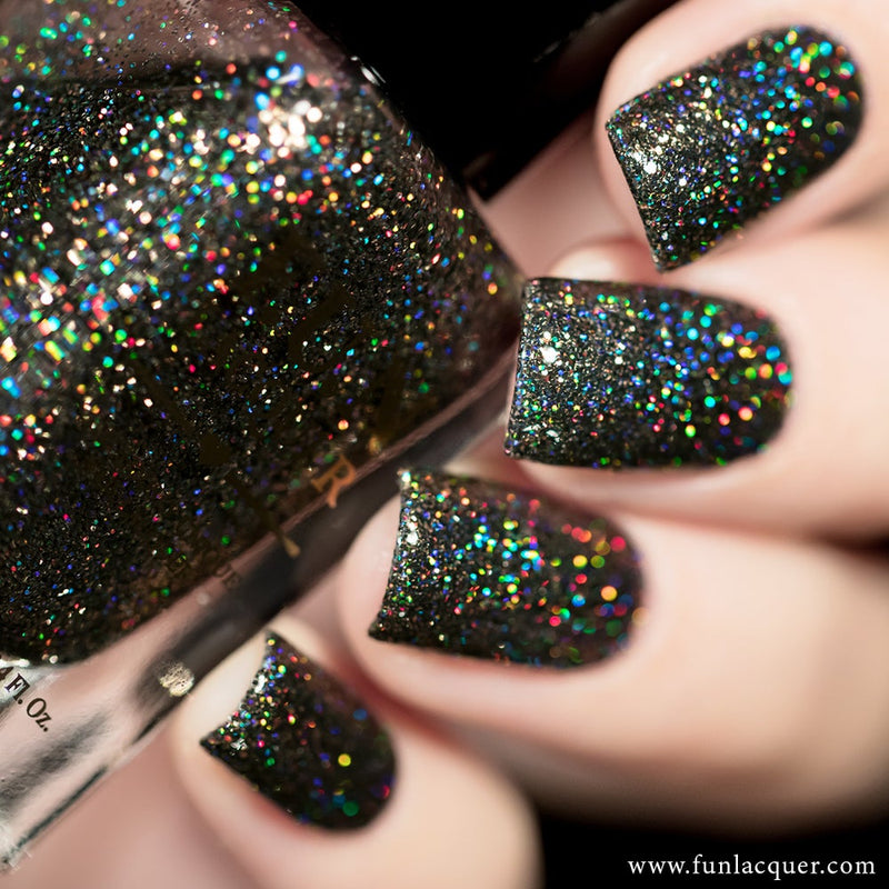 Extraordinary Black Holographic Glitter Nail