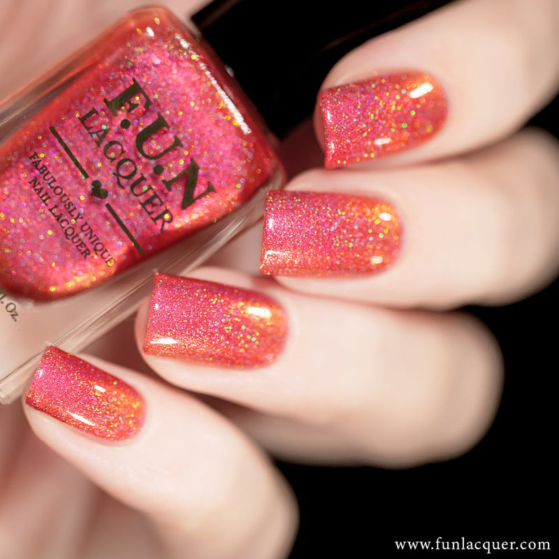 Fireplace Coral Color Shifting Holographic Nail Polish