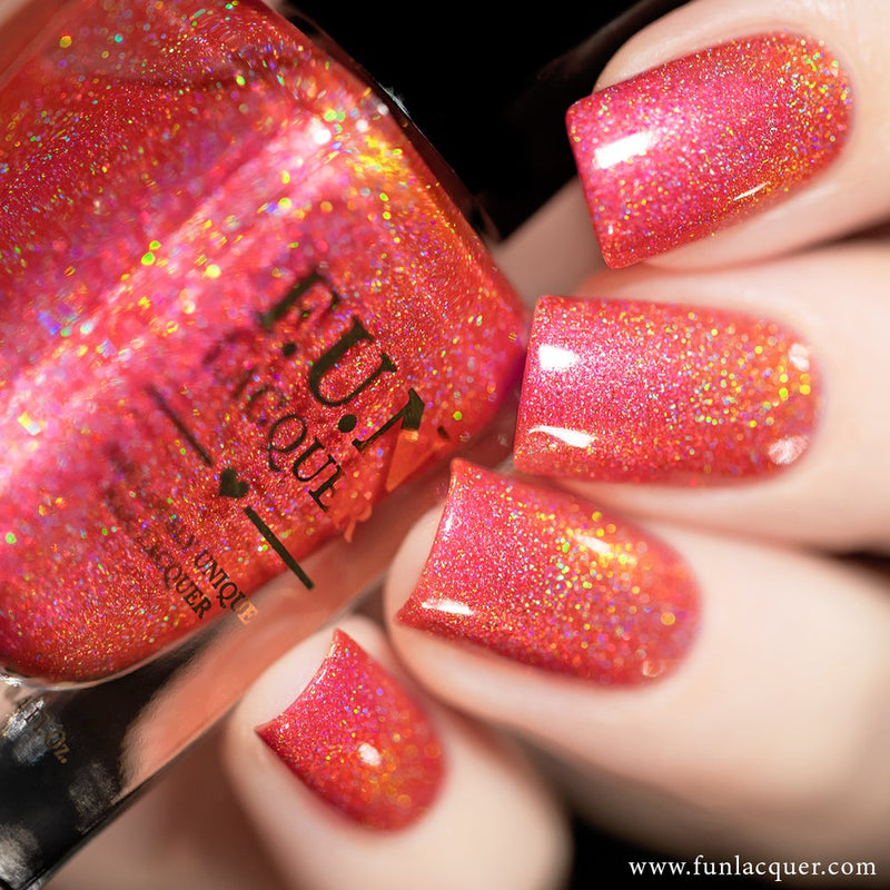 Fireplace Pink Color Shifting Holographic Nail Polish