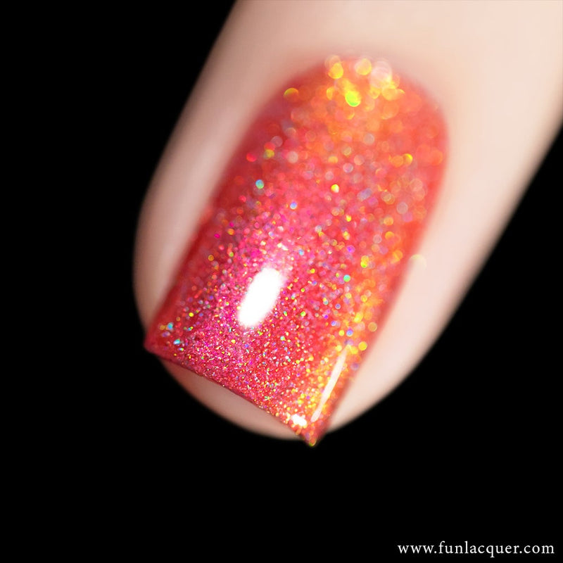 Fireplace Orange Color Shifting Holographic Nail Polish