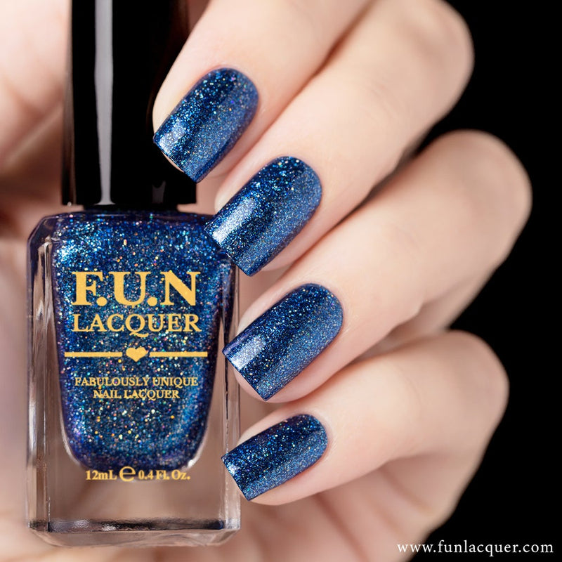 Frozen Blue Metallic Holographic Nail Polish