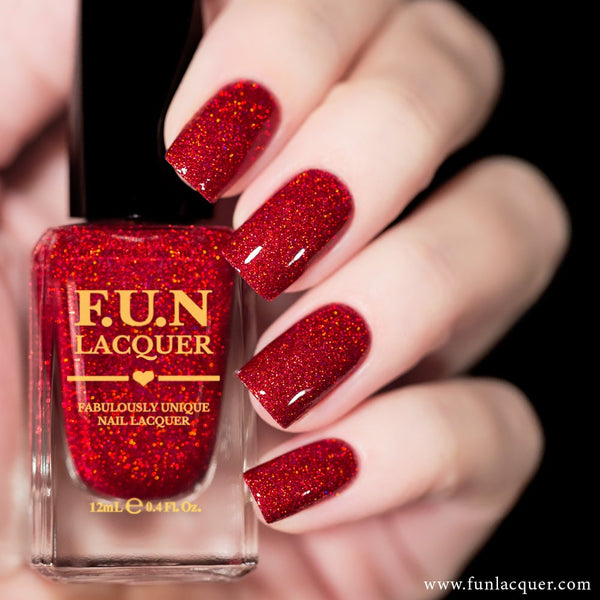 Kiss Me Red Holographic Glitter Nail Polish