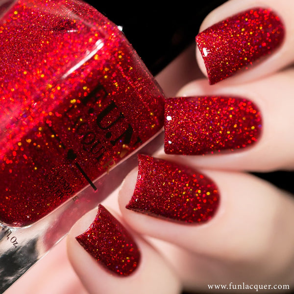 Kiss Me Red Diamond Holographic Glitter Nail Polish