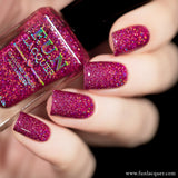 Love is 100% Fat Free Pink Holo Glitter Nail Polish
