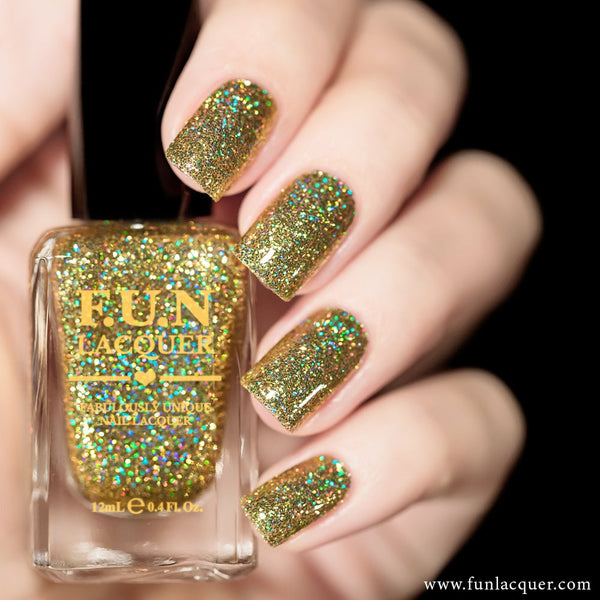 Make A Wish Gold Holographic Glitter Nail Polish