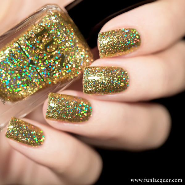 Make A Wish Gold Holo Glitter Nail Polish