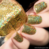 Make A Wish Gold Holographic Glitter Nails