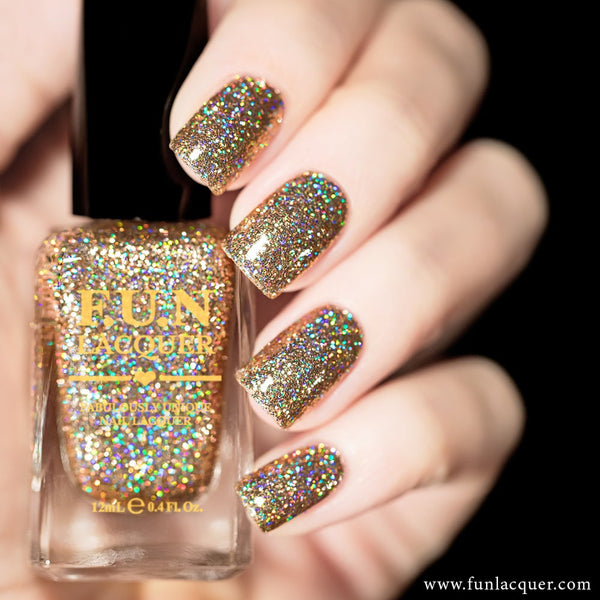 My Favourite Champagne Gold Holographic Glitter Nail Polish