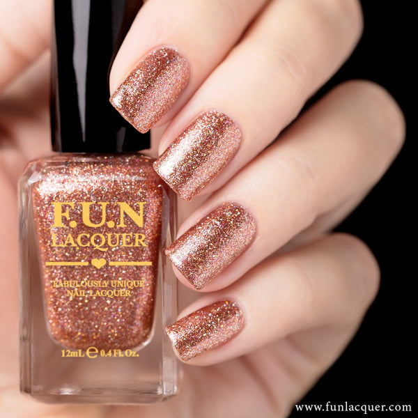 Rose Glow Metallic Holographic Nail Polish