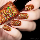 Surprise Sparkly Orange Holographic Glitter Nail Polish