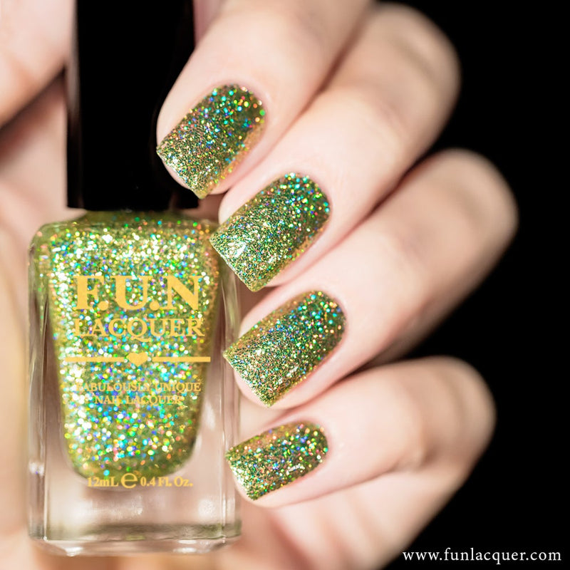 Torn Lime Green Holographic Glitter Nail Polish
