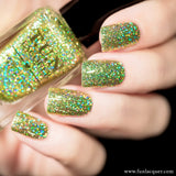 Torn Lime Green Holographic Glitter Nail