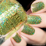 Torn Lime Green Holo Glitter Nail Polish