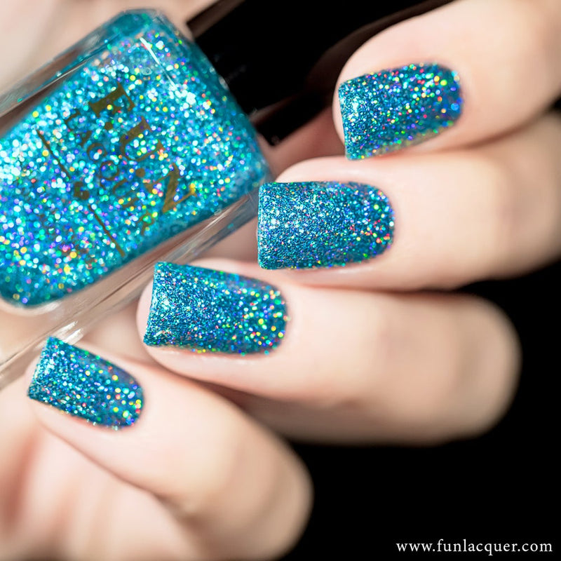 Vacation Ocean Blue Holographic Glitter Nail