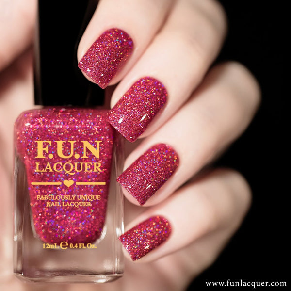 True Love Ruby Pink Holographic Glitter Nail Polish