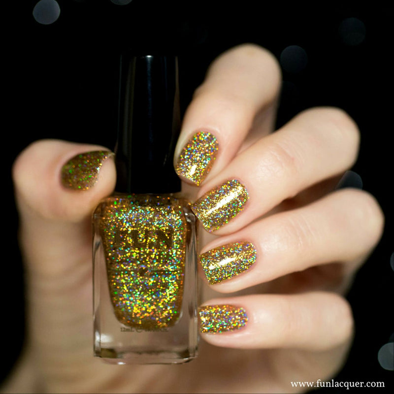 Million Dollar Dream 100% real gold holographic glitter nail polish