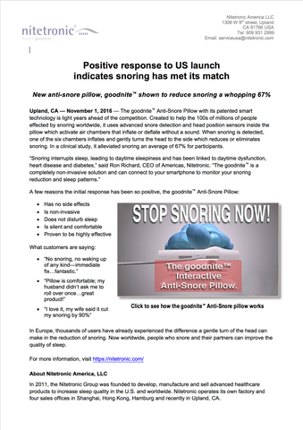 Nitetronic goodnite™ anti-snore pillow press release
