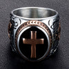 Vintage Rose and Gold Cross Stainless Steel Ring - Direct Discount Outlet