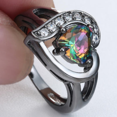 Romantic Heart with Rainbow Crystal Ring - Direct Discount Outlet